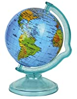Fun novelty money box in the shape of a globe;Rotates on its stand just like a miniture swivel Globe;Features a slot in the top of the globe for coins ~ money can be retrieved by removing the globe from its stand;Approx Size: 16cm x 10cm x 12...