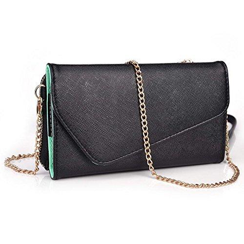 Kroo d'embrayage portefeuille avec dragonne et sangle bandoulière pour Blu Win HD/Vivo IV Multicolore - Black and Blue Multicolore - Black and Green