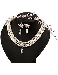 bacb66bef44f Scrox Flor de la novia coreana con adornos de diamantes exquisita novia  collar de perlas conjunto