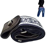 leegoal Ceinture élastique sans boucle pour les femmes/hommes, mode confortablement réglable ceinture élastique sans renflement ou tracas pour pantalons jeans (blue+white, 110cm)
