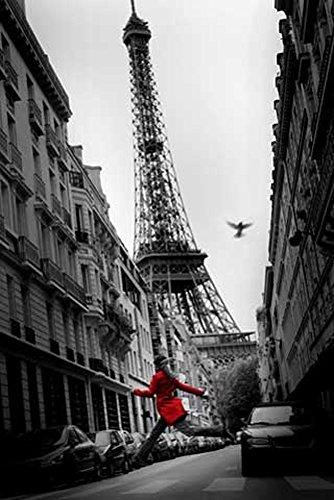 Tour Großes Poster (Paris - Red Coat Eiffelturm colourligh - Poster schwarz-weiss Foto - Grösse 61x91,5 cm)