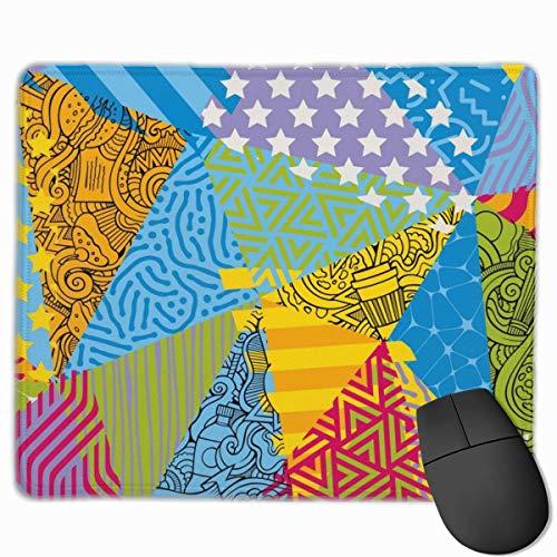 Spleißen Dreieck Anti-Rutsch Unique Designs Gaming Mouse Pad Schwarzes Tuch Rechteck Mousepad Kunst Naturkautschuk Mauspad mit genähten Kanten 25x30 cm -