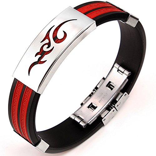 a34938e6345ccd Jewelrywe gioielli elegante in acciaio inox e gomma braccialetto da uomo  multi-colori disegno fiamma