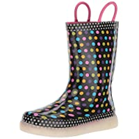 Western Chief Kids Rechargeable LED Rain Boot, Diva Dot, 11 M US Little Kid