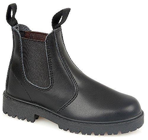 Kids Jungen Leder Chelsea Dealer Stiefelette Pull auf Kinder Schule Schuhe Größe Schwarz