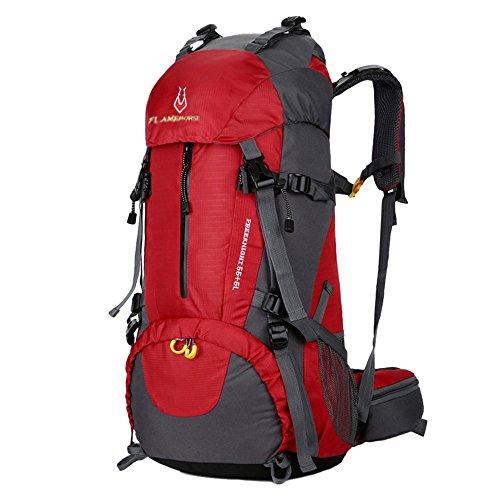 Männer und Frauen Outdoor Rucksack 60L Große Kapazität Wasserdicht Reiten Camping Klettern Wandern Bergsteiger Rucksack (Rot)