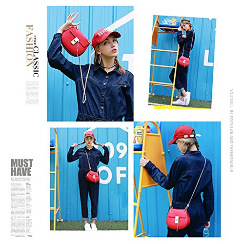 Yoome Punk Style U-Ring Borsa Flap Borsa Chain Bag Crossbody Envelope Borsa Frizione Mini Borse per Ragazze - Argento Marrone