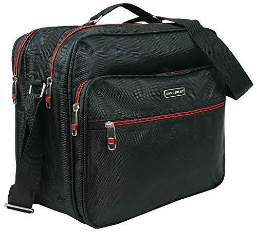 Bag Street Hochwertiger Flugbegleiter für Herren | Arbeitstasche, Herrentasche aus robustem Nylon | Schwarz