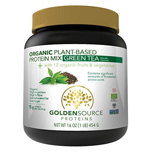 Golden Source Proteins Organic Plant-based Protein Powder, Green Tea