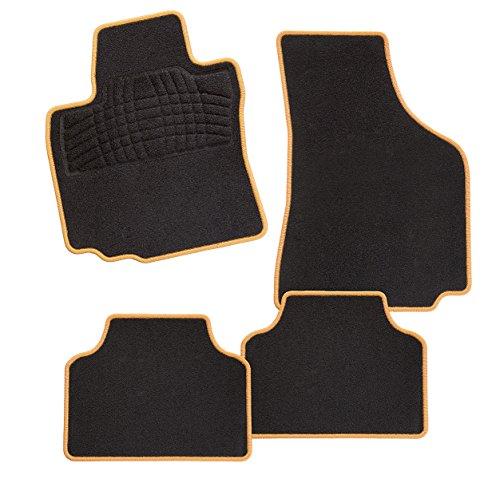 CarFashion 248656 Calypso Orange DL4 | Auto Fussmatte in schwarz | Automatten | schwarzer Trittschutz | orange Hochglanz Kettelung | Auto Fussmatten Set ohne Mattenhalter