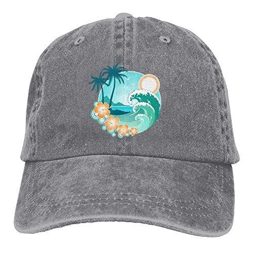 Zhgrong Caps Hawaiian Sea Beach Palm Tree Denim Hat Adjustable Male Cute Baseball Kappen Flat Cap (Cowgirl Cute Kostüme)