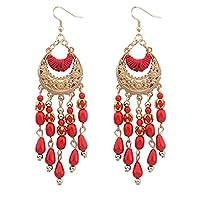 Bescita 1PC Bohemian Fringed Long Section Of Big Beads Pendant Drop Earrings (Red)