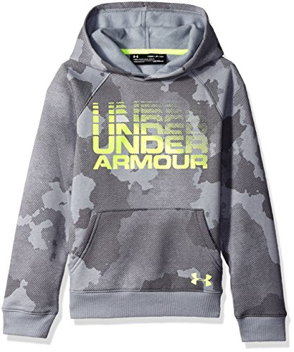 1b6b8d1fe Under Armour Boys Rival Wordmark Hoodie, Steel Fade Heather (035)/High-