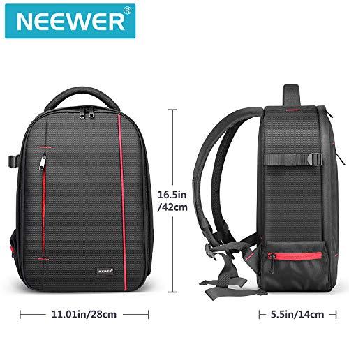 Neewer Zaino Backpack Professionale per Fotocamera Impermeabile Antiurto 42x28x14cm con Supporto per Treppiedi Tasca per Reflex Digitali, Fotocamere Mirrorless Flash Accessori (Grigio Interno)