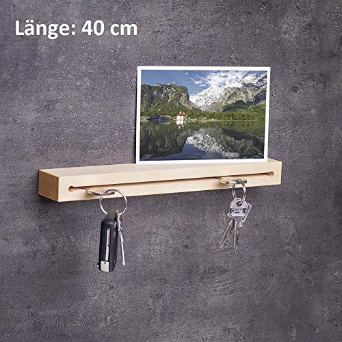 WOODS Schlüsselbrett Holz in 40cm - viele Varianten/Holzarten (in Bayern handgefertigt) Schlüsselhalter Ahorn/Moderne Schlüsselleiste als Board Schlüssel-Aufhänger/Ahornholz -