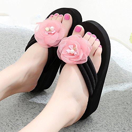 Estate Sandali Pantofole slip scivolate estive femminili Sandali con tacco alto Scarpe da spiaggia con 6 misure Colore / formato facoltativo 1005