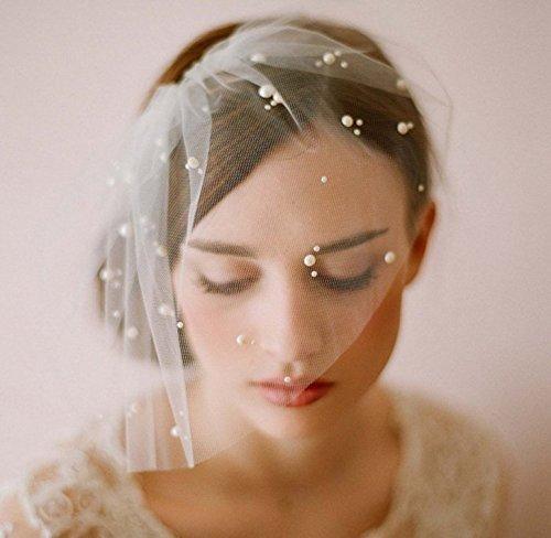 UChic 1Pcs Elegant Elfenbein Short Tüll Birdcage mit Kamm Zubehör Bridal Pearl Wedding Veil Headwear für die Braut (Stirnband Birdcage)