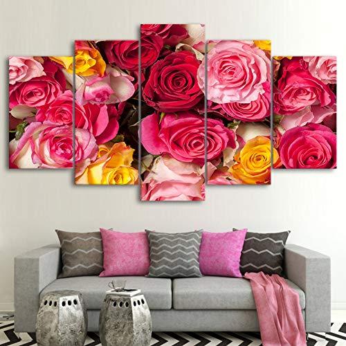 ASDZXC Leinwand Gemälde Wohnkultur Wohnzimmer Wandkunst 5 Stücke Rose Blumen Poster Hd Schöne Drucke Rosen Knospen Bilder