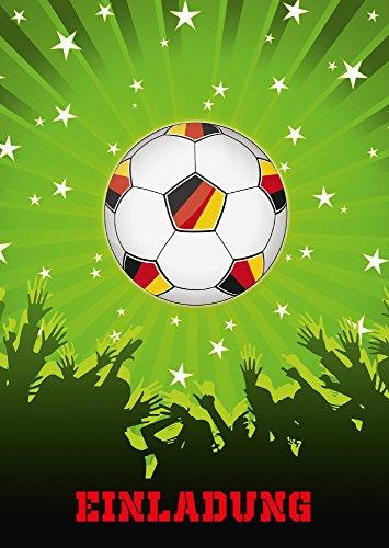 8-er Set Fussball-Einladungskarten (Nr. 10692-Hochformat) zum Kindergeburtstag oder zur Fußball-Party / Sportfest - Die Einladungen zum Geburtstag sind für Mädchen und Jungen geeignet