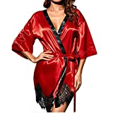 KPILP Damen Bademantel Silk Kimono Dressing Elegant Morgenmantel Babydoll Dessous Nachtwäsche Nachtwäsche Negligees(Rot,EU-38/CN-M