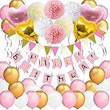 Bandera de cumpleaños para niñas, VSTON Happy Birthday Globos R