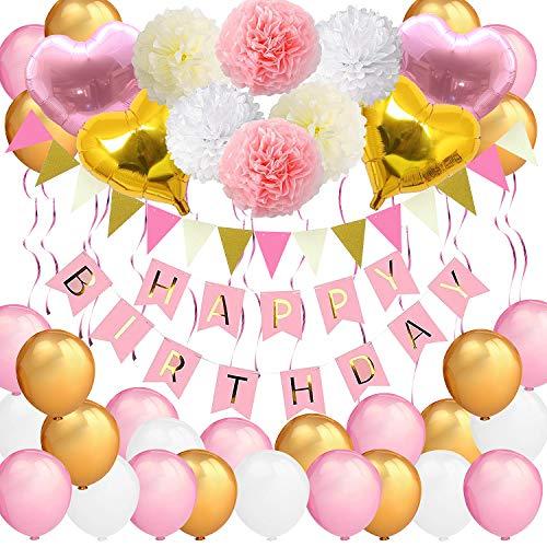Bandera de cumpleaños para niñas, VSTON Happy Birthday Globos Rosa Fiesta Blanca Decoracion para niños Mujeres Adultos con Forma de corazón Pompones Flores Globos de Tejido Guirnalda, 42 Paquetes