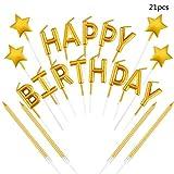 byou Candele di Compleanno ,Candele per Torta 21 Pezzi Oro Star Toppers Happy Birthday Lettere Sottili d'oro Metallizzate Candele per Matrimonio Compleanno Decorazione Torta