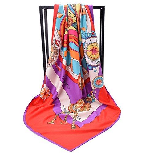LiShihuan - Sciarpa in twill stampata, grande sciarpa quadrata, foulard di seta, orologio romano, spiaggia, schermo solare rosso rosa 130 x 130 cm