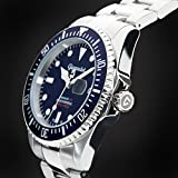 Gigandet Automatik Herren-Armbanduhr Sea Ground Taucheruhr Uhr Datum Analog Edelstahlarmband Blau Silber G2-009 - 5