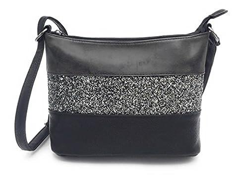 Gallantry -Sac bandoulière / sac porté épaule / sac paillettes femme / Sac Strass(Noir(A))