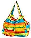 Vetrineinrete® Borsa mare da donna a spalla in tessuto con righe colorate 5 tasche con chiusura a zip base rinforzata per spiaggia campeggio piscina (Verde) B36