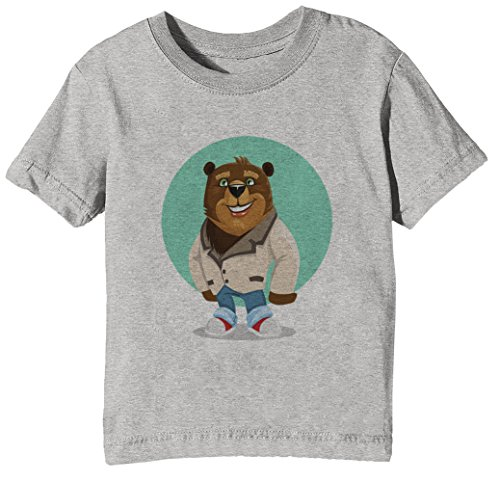 Klug Mensch Bär Yolo Kinder Unisex Jungen Mädchen T-Shirt Rundhals Grau Kurzarm Größe XL Kids Boys Girls Grey X-Large Size XL (Kluge Bär)