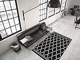 Kayoom RAUTEN Muster Teppich MODERN SCHWARZ Elfenbein 3D Effekt TEPPICHE Sale, Größe:160cm x 230cm