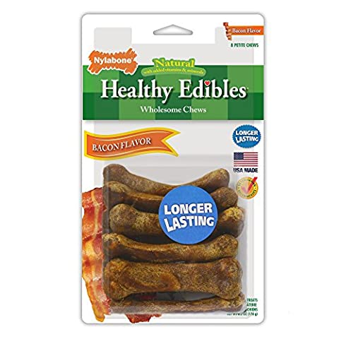 Nylabone Healthy Edibles Petite Bacon Flavored Dog Treats, 8 Count