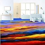 Yosot Tapete Bunte Abstrakte Sonnenuntergang Ölgemälde 3D Bodenaufkleber Rutschfeste Verdickte Wohnzimmer Badezimmer Bodenbelag Wandbild-300Cmx210Cm