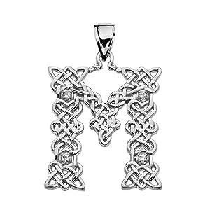 """""""M"""" Buchstabe In Keltisch Knoten 925 Sterling Silber Damen Anhänger Mit Diamant"""