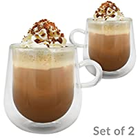 Set of 2 Double Walled Insulated 275ml Glass Mugs   Heat Resistant Thermal Glass Coffee Cup   For Hot & Cold Drinks   Coffee, Tea, Espresso, Cappuccino, Latte   M&W