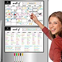 """Magnetic Dry Erase Monthly Calendar and Weekly Planner White Board Set for Kitchen Fridge - Set of Two 11"""" x 17"""" Multipurpose Stain Resistant Whiteboard Refrigerator Organizer Reusable Magnet Boards"""