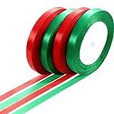 100 Yard Nastro in Raso per Regalo di Natale Nastro di Avvolgimento per Regali Fai Da Te, 10 mm Largo (Rosso e Verde)