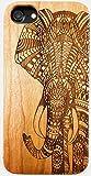Gamma Shark - Coque pour téléphone, motif éléphant - en bois sculpté, 100% naturel - coque pour Apple iPhone 5 / 5S / SE / 6 / 6S / 6+ / 7 / 7+ / 8 / 8+, iPhone 6 / 6S / 7 / 8, iPhone 5 / 5S / SE