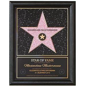 Persönlicher Hollywood Stern Walk of Fame Stil - Star of Fame Urkunde mit Name und Holzrahmen 46 x 36cm