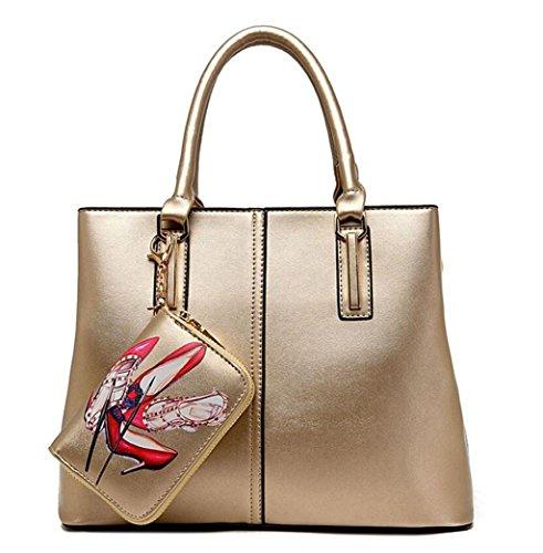 SHOTBAON Lady's Sub-Mutter-Pack PU-Leder Multifunktionale einzelne Umhängetasche Handtasche Diagonal Cross-Paket Shopping Reißverschluss, Gold