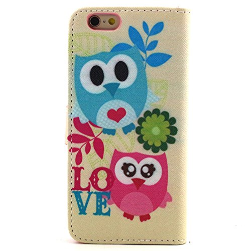Ancerson Multi-Colored PU Pelle Patta Borsa Custodia Protettiva per Apple Iphone 6 Plus 5.5 pollici inch In Pittura ad Olio Stil Colorful Painting Flip Case Custodia in pelle sintetica custodia cover  Eule Geschwester