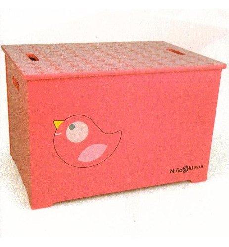 trä Present–caja para juguetes con diseño de pájaro (color rosa)