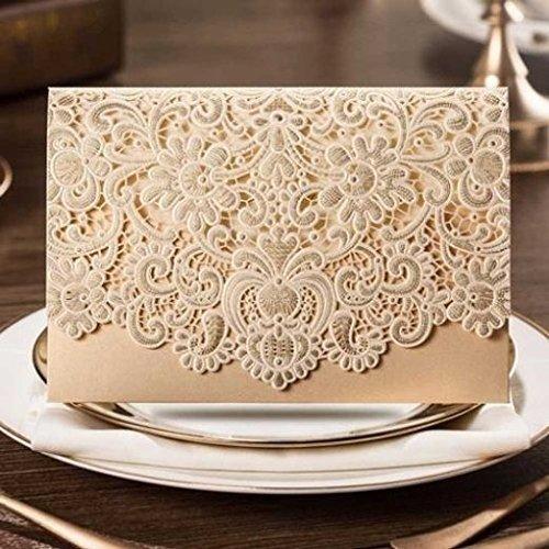 VStoy Laser-Schnitt-Hochzeits -Einladungen Karten Elegante Licht lila Blumen-Hochzeit Bevorzugungen Bogen Party Supplies mit Umschlag und Siegel 20 Stück (Gold)