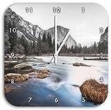 Yosemite National Park California B&W Detail, Wanduhr Durchmesser 28cm mit schwarzen spitzen Zeigern und Ziffernblatt, Dekoartikel, Designuhr, Aluverbund sehr schön für Wohnzimmer, Kinderzimmer, Arbeitszimmer