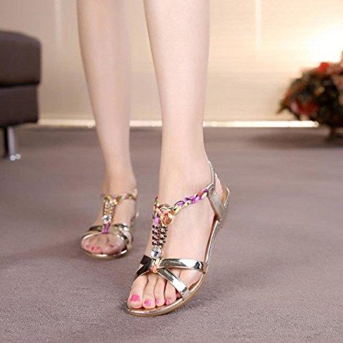 Internet Femmes été Strass Plat Sandales Chaussures de Plage Confortable Or