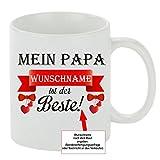 Kaffeebecher ' Mein Papa 'Wunschname' ist der Beste! ' Kaffeetasse mit Motiv, bedruckte Tasse mit Sprüchen oder Bildern - auch individuelle Gestaltung