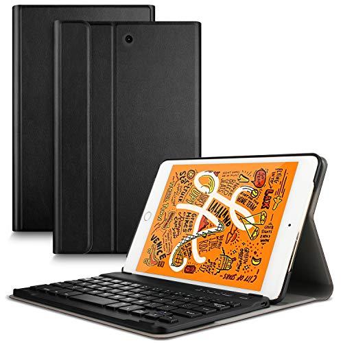 für iPad Mini 5 2019 [Deutsches QWERTZ], Slim Ständer PU Schutzhülle Hülle mit magnetisch Abnehmbarer Kabellose Tastatur für Apple iPad Mini 5 / Mini 4 7.9 Zoll [Schwarz] ()