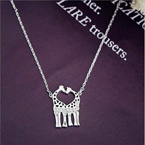 TLLAMG Halskette Persoanality Nettes Tier 925 Sterling Silber Schmuck Großhandel Doppel Giraffe Kristall Weiblichen Anhänger Halskette